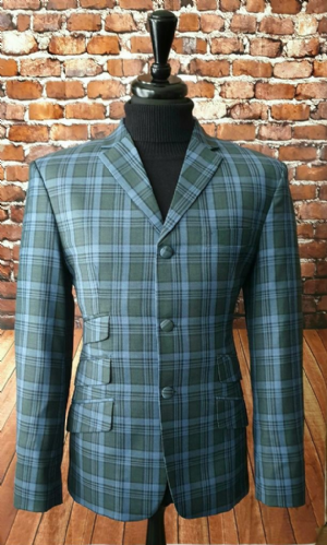 """Jefferson"" Blue Grey/Olive Bold Check Jacket."